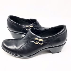 Clarks | Genuine Leather Clog Bootie Black